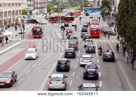 Stockholm, Sweden - August 31, 2015: Traffic on the street Langholmsgatan at Hornstull.