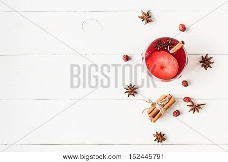 Christmas drink. Traditional mulled wine with spices. Christmas composition. Flat lay top view