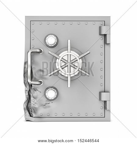 3d rendering of a broken safe box isolated on a white background. Attempting to crack. Using brute force methods to open. Trying to rob money and value