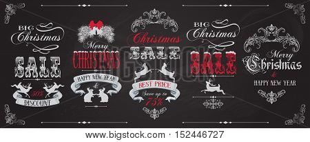 Vector Christmas sale vintage label banners set with deers, rabbits and ribbons on chalckboard background.Christmas design for any kind of goods discount. Retro style