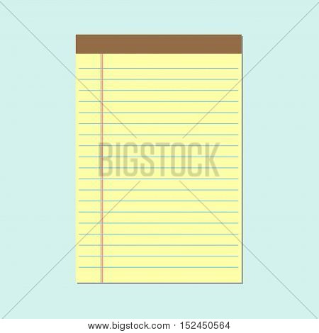 Yellow notebook paper. School notebook, vector illustration