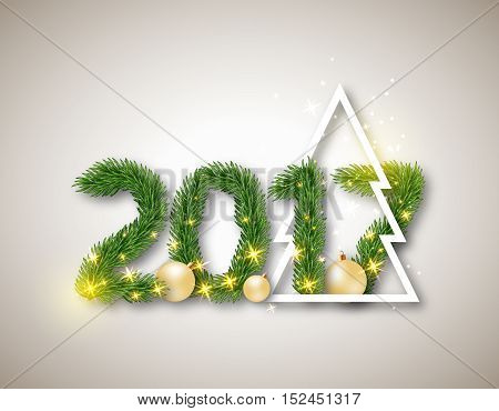 2017 numeric from fir branches with abstract christmas tree and ball. Christmas concept with glowing lights background. Vector illustration.