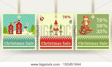 Christmas Sale Tags with Xmas Symbols - Santa Claus Gifts Toys. Winter Sell-out Labels Collection. Vector Illustration.