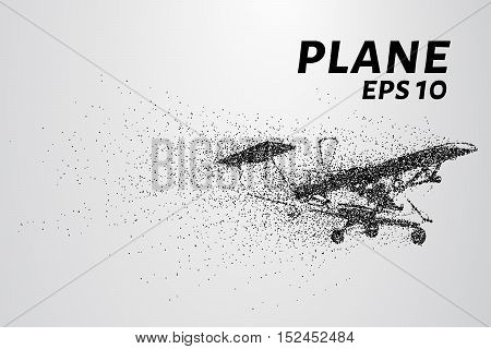 The plane of the particles. The plane disintegrates to smaller molecules. The plane consists of small circles and dots.