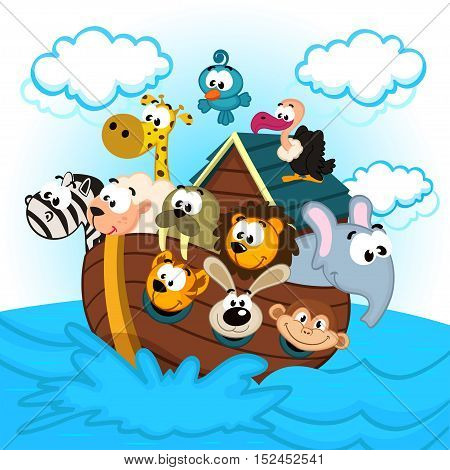 animals sailing on Noah's Ark - vector illustration, eps