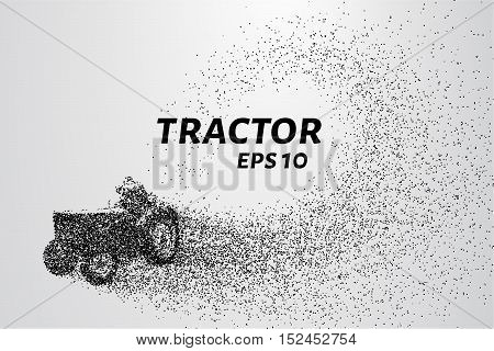 Tractor of the particles. Tractor plowing the land. The man behind the wheel of a tractor consists of points.