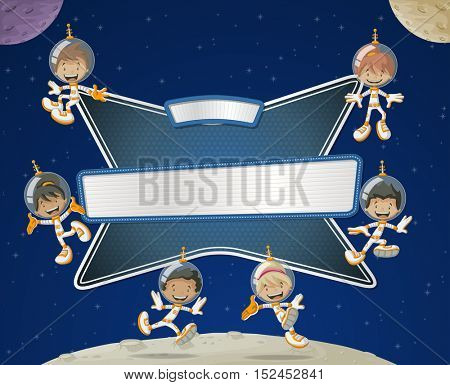 Futuristic rocket screen board with astronaut cartoon children in the space.