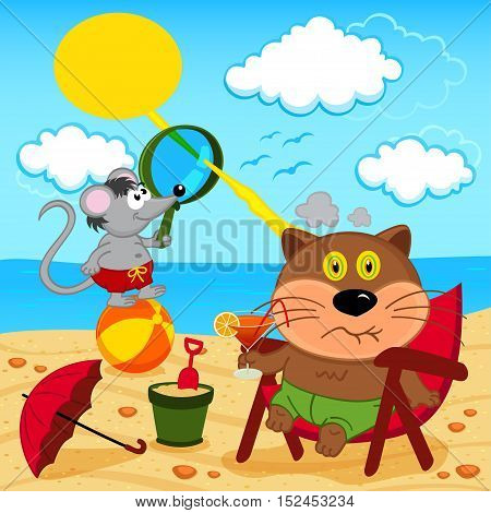 cat and mouse fool around with on beach - vector illustration, eps