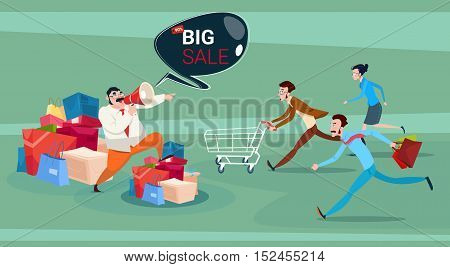 Man Hold Megaphone People Running Black Friday Big Sale Holiday Shopping Vector Illustration