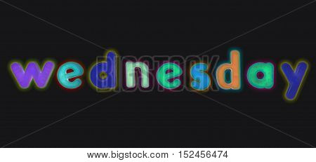 Multi-coloured letters with the word Wednesday illustration