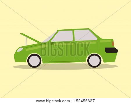 Broke down car. Car with a raised hood. Electric car discharged. Hand drawn colorful cartoon vector illustration