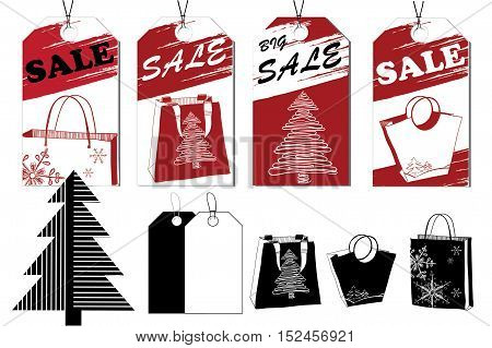 Vector illustration of Sale tags, Labels for discount. Stylization red and black elements and object for Christmas gifts, presents, Christmas tree. Graphic design packet.