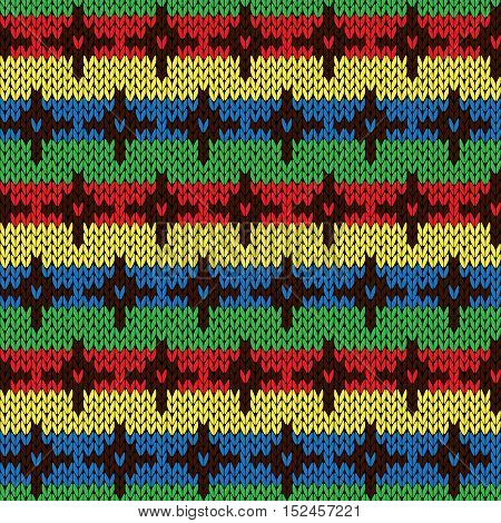Seamless Knitting Multicolor Pattern With Crosses