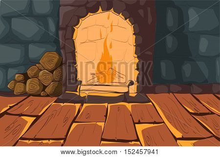 Vector illustration of a cartoon burning fireplace wooden floor and stone walls interior
