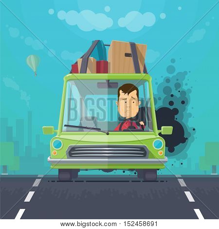 Trendy flat design vehicle sedan car accident after a car accident a broken traffic and surly driver, balloon in the sky trees and silhouette of the city, vector illustrations