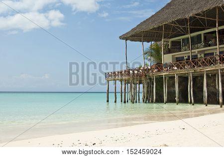 Beach restaurant Nungwi Beach on Sansibar island