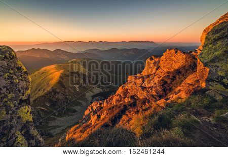 Mountain Landscape at Sunset. View from Mount Dumbier in Low Tatras Slovakia. High Tatras Mountains in Background.