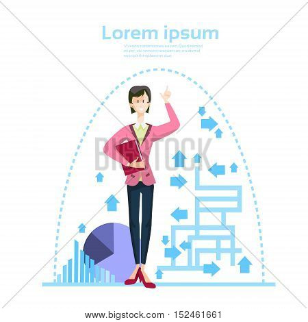 Business Woman Financial Graph Abstract Arrow Bar Diagram Background Flat Vector Illustration