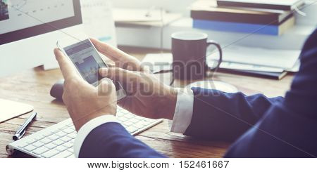 Businessman Working Update Newsfeed Mobile Concept