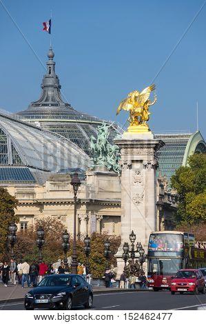 PARIS FRANCE - OCTOBER 11 2015: Pont Alexandre III over the river Seine and Grand Palais Paris France