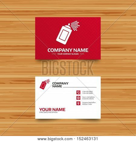 Business card template. Graffiti spray can sign icon. Aerosol paint symbol. Phone, globe and pointer icons. Visiting card design. Vector