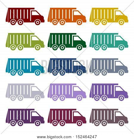 Recycle truck icons set on white background