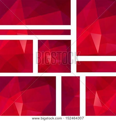 Horizontal And Vertical Banners Set With Polygonal Red Triangles. Polygon Background, Vector Illustr