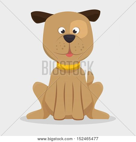 playful doggy with collar icon vector illustration eps 10