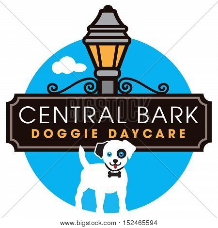 Central Bark Doggie Daycare logo with street sign and lantern