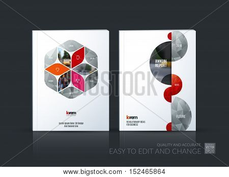 Brochure template layout collection, cover design annual report, magazine, flyer in A4 with red rhombus, rectangle for business, flower style. Abstract vector design set with half circles.