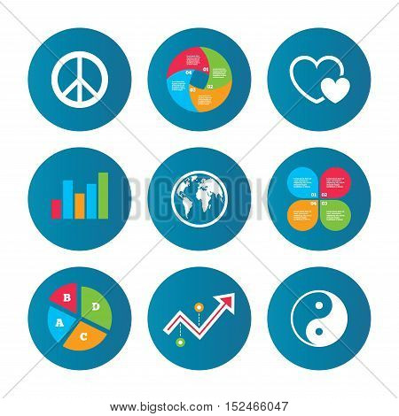 Business pie chart. Growth curve. Presentation buttons. World globe icon. Ying yang sign. Hearts love sign. Peace hope. Harmony and balance symbol. Data analysis. Vector