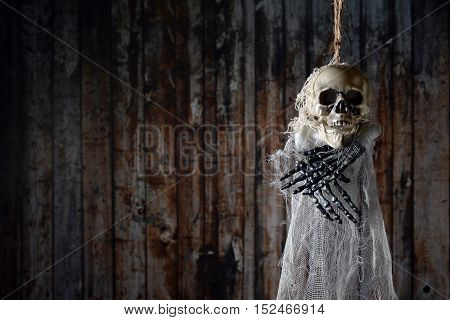 Terrible skeleton on the gallows on a wooden background