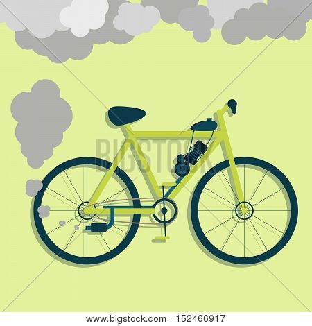 Electric bicycle steaming the exhaust pipe. Air pollution. Flat design with long shadow. Metaphor. Concept