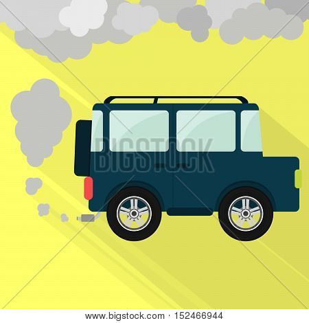 Off-road car steaming the exhaust pipe. Air pollution. Flat design with long shadow.