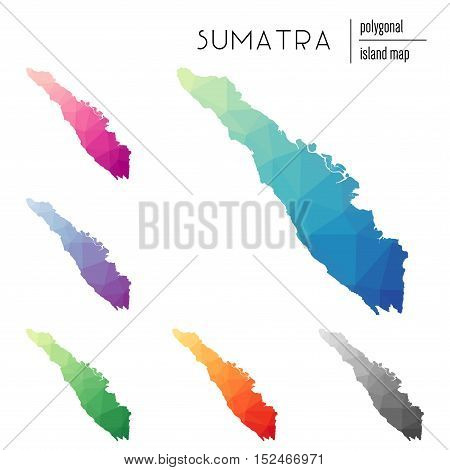 Set Of Vector Polygonal Sumatra Maps Filled With Bright Gradient Of Low Poly Art. Multicolored Islan