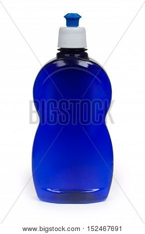 Cleaning equipment chemical detergent in blue bottle isolated on white background close-up.