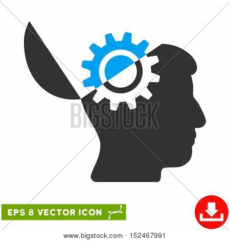 Open Mind Gear EPS vector pictograph. Illustration style is flat iconic bicolor blue and gray symbol on white background.