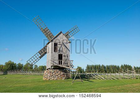 Old wooden windmill in Angla, island of Saaremaa, Estonia