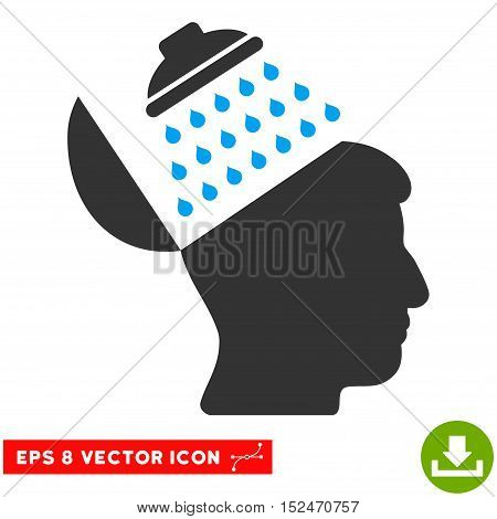 Propaganda Brain Shower EPS vector pictogram. Illustration style is flat iconic bicolor blue and gray symbol on white background.