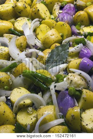 raw mixed vegetables in mediterranean style ready to grill
