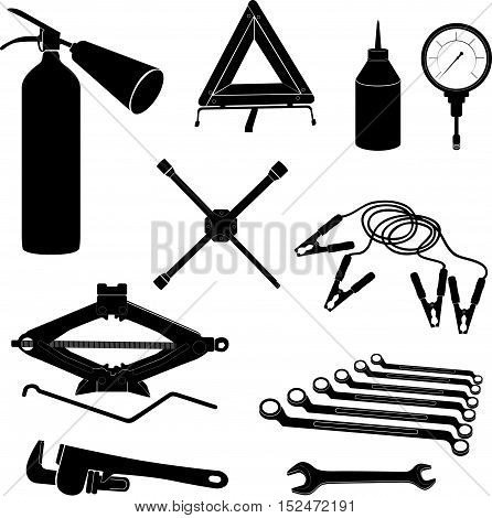 Auto service icons. Repair car on the road. Garage equipment Vehicle  tools silhouette sign set.