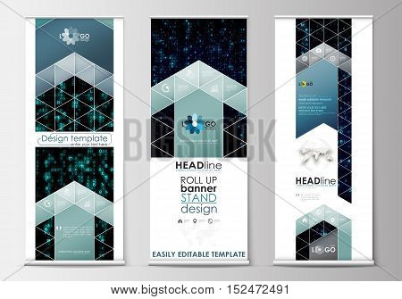 Set of roll up banner stands, flat design templates, abstract geometric style, modern business concept, corporate vertical vector flyers, flag banner layouts. Virtual reality, color code streams glowing on screen, abstract technology background with symbo