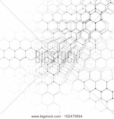 Chemistry 3D pattern, hexagonal design molecule structure on white, scientific medical research. Medicine, science and technology concept. Motion design. Geometric abstract background