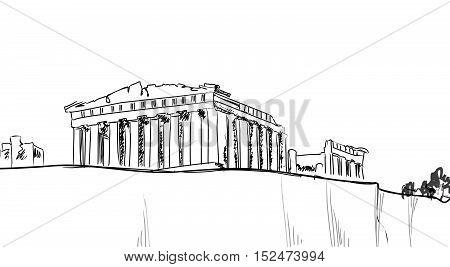 Acropolis Hill in Athens Landscape. Travel Greece sign. Athens famous landmark building city view, Greece.