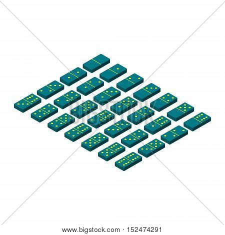 Domino set.Isolated on white background. 3d Vector illustration.3d isometric style.