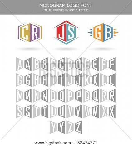 initials logo font for building 2 letter logos. monogram letter set.