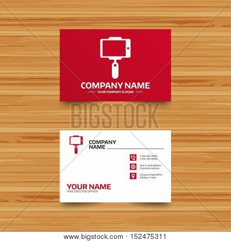 Business card template. Monopod selfie stick icon. Self portrait tool. Phone, globe and pointer icons. Visiting card design. Vector