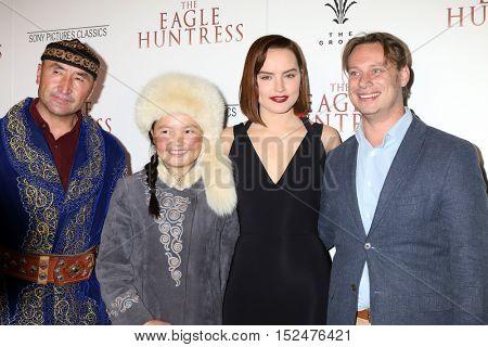 LOS ANGELES - OCT 18:  Nurgaiv Rys, Aisholpan Nurgaiv, Daisy Ridley, Otto Bell at the