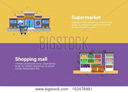 Supermarket Shopping Mall Retail Store Online Commerce Web Banner Flat Vector Illustration