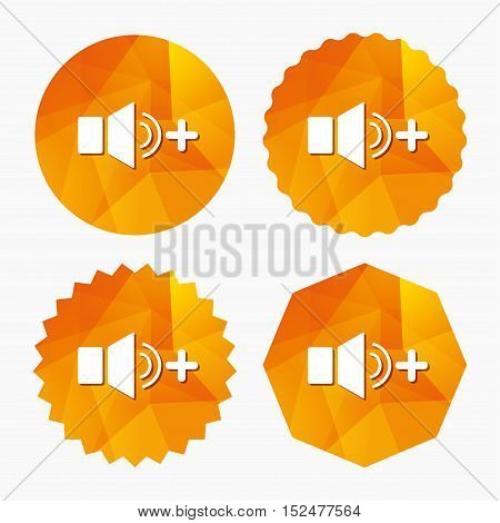 Speaker volume louder sign icon. Sound symbol. Triangular low poly buttons with flat icon. Vector